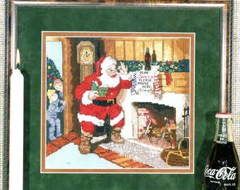 Coca Cola Santa Claus 4 Please Pause Here Two Children Spying on Santa Heart Counted Cross Stitch Embroidery Craft Pattern Leaflet 364