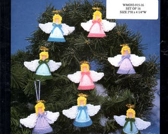 Plastic Canvas for All Seasons 3 Dimensional Angel Ornaments Needlepoint Embroidery Craft Pattern Leaflet