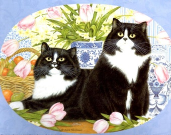 Twins Iron On Transfer Pattern Two Cats Tulips Yellow Flowers Blue White Pot Basket of Oranges and Pears Craft Pattern