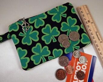 Shamrock Clover Black Green Clover Charm Coin Purse Cosmetic Makeup Travel Makeup Bag
