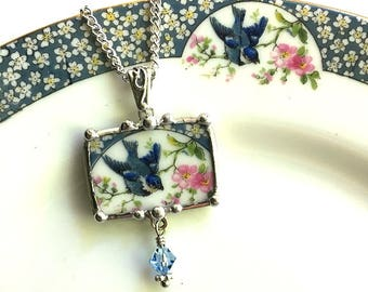 Broken china jewelry pendant necklace antique bluebird china with cherry blossom or apple blossoms, Swarovski crystal