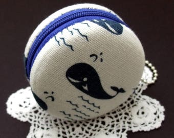 RS 6.5cm Macaron / jewelry pouch / Macaron coin purse / ear phone case -- Whale