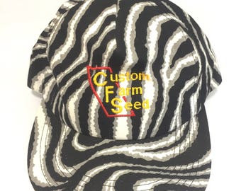 90's custom farm seed zebra print snap back hat