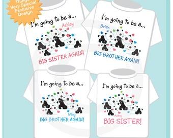 4 matching sibling shirts, Big Sister Again, Big Brother Again, Big Brother Again and Big Sister Panda Bear Shirt set 08042017b
