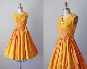 1950s Dress - Vintage 50s Dress - Vibrant Orange Yellow Stripe Polka Dot Cotton Full Skirt Sundress XS - Sunsplashed Dress
