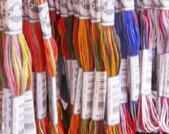 New DMC Coloris Threads -8m Skeins -4 Shades per Skein, col no 4500-4523, variegated thread, embroidery thread, floss
