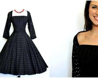 Vintage Black Cutout Eyelet Party Dress - Full Circle Skirt - Pin Up - 1950s - Phyllis Dee Miami - Small