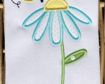 991 Flower Bee Machine Embroidery Applique Design