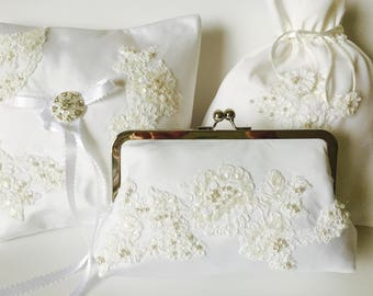 HEIRLOOM Clutch, Ringbearer Pillow and Dance Bag Set of three items - SPECIAL PRICING for all three