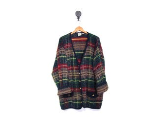 Vintage 90s Oversized GRUNGE GRANNY Slouchy Knit Tartan Plaid Button Up Cardigan Sweater L-2X vestiesteam preppy indie hipster plus size
