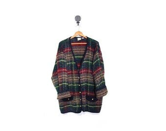 BTS SALE Vintage 90s Oversized GRUNGE Granny Slouchy Knit Tartan Plaid Button Up Cardigan Sweater L-2X vestiesteam preppy indie hipster plus