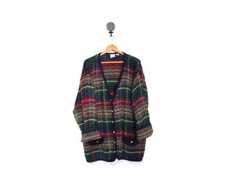 30% OFF Vintage 90s Oversized GRUNGE GRANNY Slouchy Knit Tartan Plaid Button Up Cardigan Sweater L-2X vestiesteam preppy indie hipster plus