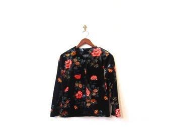 30% OFF Vintage 90s Black Grunge Floral Velveteen Button Up Top s m