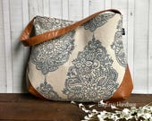 The Snoho Slouch Bag - Mandala Paisley in Navy with Vegan Leather