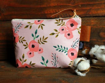 Coral Blossoms with Vegan Leather - Cosmetic Bag - Make Up Bag - Bridesmaid Gift