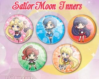 Sailor Moon Inners Anime Button Set