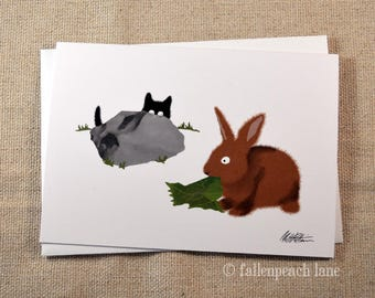 Black Cat Meets a Bunny Rabbit - Sammy and Zippy Von Tulip Blank Illustrated Greeting Card