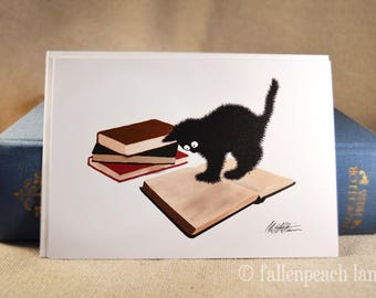 Black Cat and Books Blank Card- Illustrated Greeting Card featuring Sammy the Cat