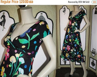 ON SALE Vintage Early 1990's Dress with Empire Waist and Retro Floral Print. Small. Georgiou Sport.