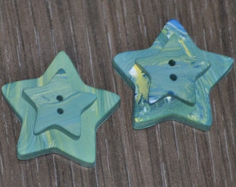 1 and 1/8 inch Green Blue Yellow and White Swirled Star Buttons - 3D Buttons