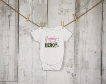 Daddy Is My Hero Embroidered Shirt, Military Mom, Military Dad