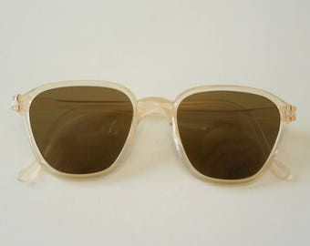 Vintage Rare 1930 - 1940 Clear Peach Celluloid Sunglasses Dead Stock
