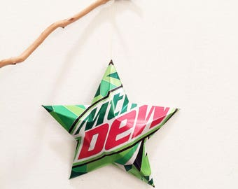 Mtn Dew or DIET Mountain Dew Stars Christmas Ornaments Soda Can Upcycled