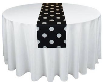 Black and White Polka Dot Table Runner Wedding Table Centerpiece Party Shower Decoration Table Linens Decor Custom Size