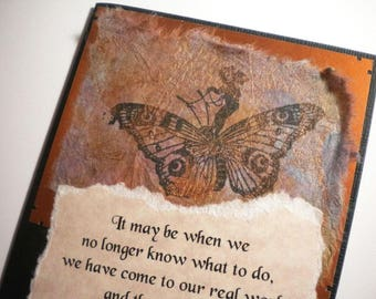 OUR REAL JOURNEY ~ Mixed media collage art card with quote by Wendell Berry