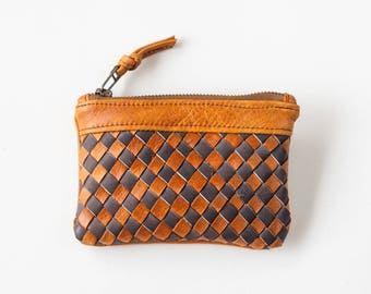 Brown and grey handwoven leather zipper pouch coin purse zipper case small money bag credit card zip purse - The Leto pouch