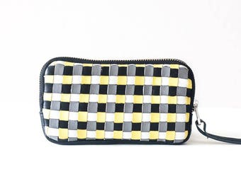 Zipper leather purse with handwoven strips, coin purse zipper phone case money bag iphone 7 case zip purse - The Antheia Zipper pouch