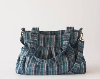 Crossbody stripe wool bag, shoulder purse messenger everyday bag womens purse - Elessa bag