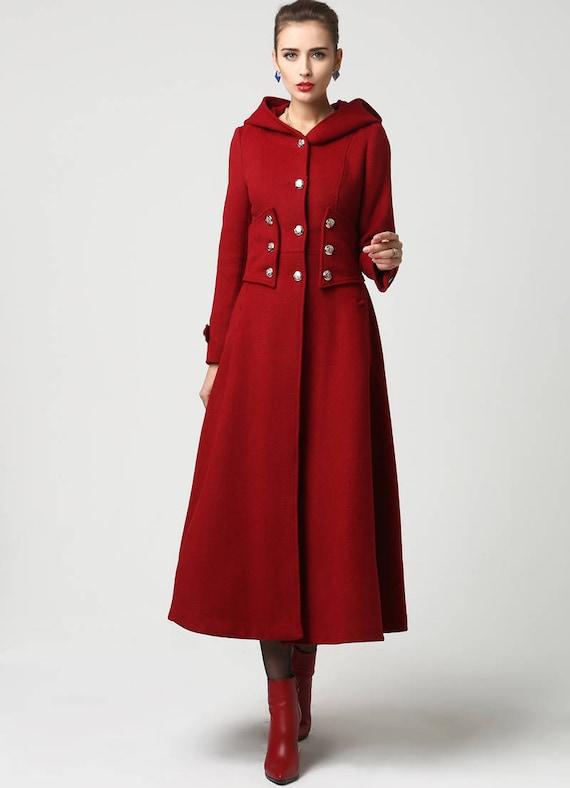 Womens Coat Long Red coat hooded coat Wool Coat Military