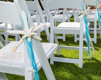 Beach Wedding Starfish Chair Decoration with Natural Starfish and Satin and Sheer Ribbons - 24 Ribbon Colors - aisle decorations