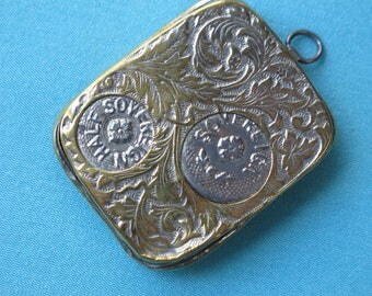 Sovereign Money Coin Case Victorian c.1890 Half Sovereign Pound Sixpence Threepence England Loop For Fob or Chatelaine Brass & Silvertone