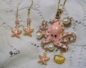 OCTOPUS Necklace, Pink Octopus with Pearls Starfish and Seashell, Large Ocean Creature Pendant, Enamel Octopus Necklace, Rhinestone Octopus