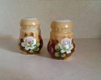 Lefton Heritage  Porcelain White Pink Rose Floral Salt and Pepper Shaker Set Japan NE613