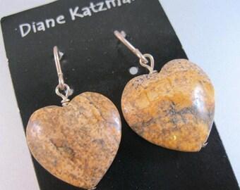 XMAS in JULY SALE Diane Katzman Designer Drop Heart Earrings Sterling Silver Wires w/ Genuine Landscape Agate