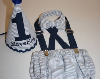 baby boy cake smash outfit boy first birthday outfit gray navy blue 1st birthday hat diaper cover bow tie diaper cover photo prop