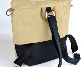 Convertible Backpack or crossbody bag Rucksack or bicycle bag, a Darby Mack original & made in the USA! Tan and black