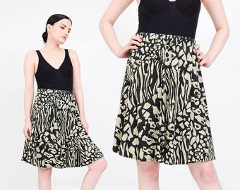 Animal Print Skirt | 80s Skirt Jersey Knit Skirt | Elastic Waist Cheetah Leopard Skirt | Full Circle Skirt | Green Black | Medium Large M L