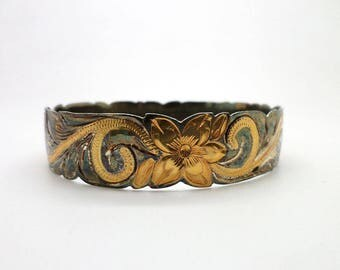 Vintage Sterling Silver Bracelet Hawaiian Plumeria 9k Gold Wash Large Size
