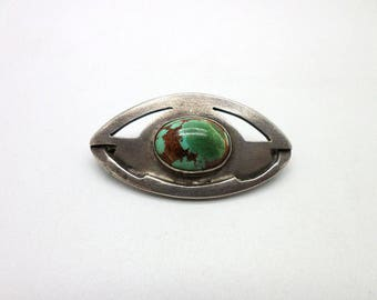 Sweet Little Sterling Silver and Stone Turquoise or Chrysocolla Pin Brooch