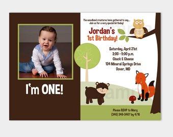 Little Hoot Woodland Nature Fox, Owl, Bear, Tree Photo Birthday Invitation Any Age, Digital Printable JPG or PDF file bs-065