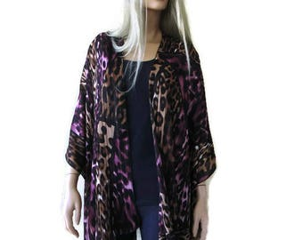 Fancy Leopard/cheetah Kimono Cardigan-Plum and brown shades with metallic stripes, kimono jacket/Ruana -summer collection-Only one available