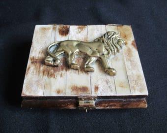 Bone & Brass trinket box, Lion Motif, Mens jewelry box, Antler bone