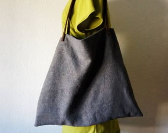 Tote bag blue grey naturally dyed rustic minimalist herb plant ethical leather straps handbag shoulder boho bohemian earthy yoga purses eco