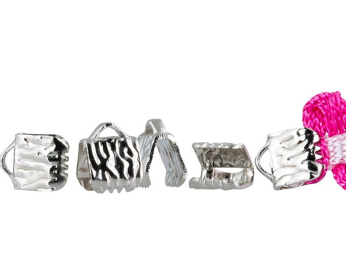 500 pieces - 6mm or 1/4 inch Platinum Silver Ribbon Clamps - Artisan Series