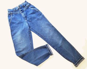 80s Vintage High Waisted Jeans Womens Vintage Lee Jeans Mom Jeans Faded & Distressed Jeans Taper Leg Jeans 24 Waist