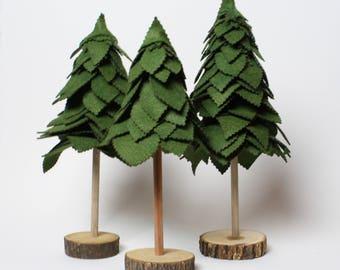 Felt Trees - Evergreen - Set of 3